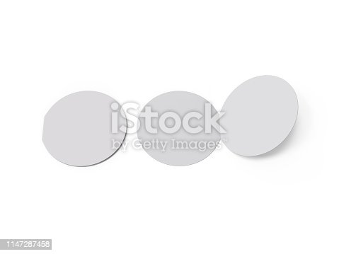 932100364 istock photo Circle bi fold brochure mock up template on isolated white background, blank white template for  presentation design. 3d illustration 1147287458