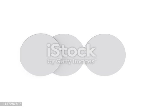 932100364 istock photo Circle bi fold brochure mock up template on isolated white background, blank white template for  presentation design. 3d illustration 1147287527