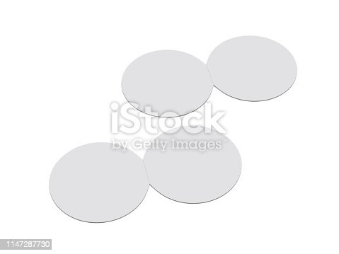 932100364 istock photo Circle bi fold brochure mock up template on isolated white background, blank white template for  presentation design. 3d illustration 1147287730