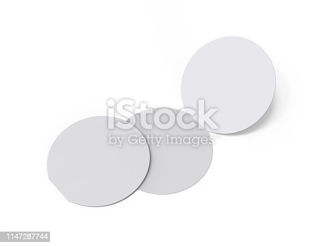 932100364 istock photo Circle bi fold brochure mock up template on isolated white background, blank white template for  presentation design. 3d illustration 1147287744