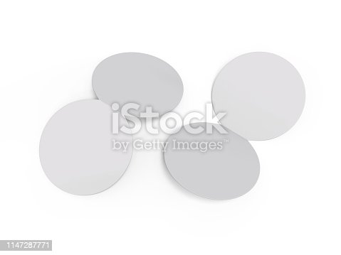932100364 istock photo Circle bi fold brochure mock up template on isolated white background, blank white template for  presentation design. 3d illustration 1147287771