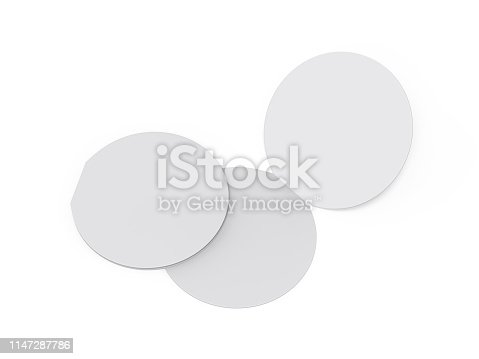 932100364 istock photo Circle bi fold brochure mock up template on isolated white background, blank white template for  presentation design. 3d illustration 1147287786