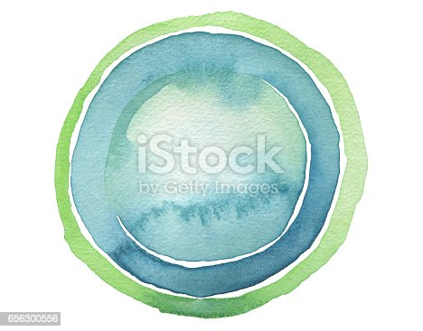istock Circle blue watercolor painted button background. Texture paper. Isolated. 656300556