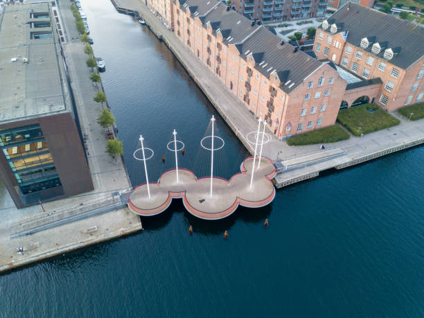 circle bridge i köpenhamn, danmark - drone copenhagen bildbanksfoton och bilder