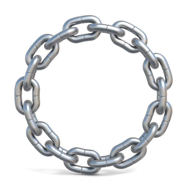 circle chain 3d - chain object stock photos and pictures