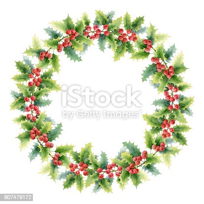 istock Circle Christmas composition with holly 607479172