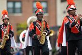 Indianapolis, Indiana, USA - September 22, 2018: The Circle City Classic Parade, The Benton Harbor High Shcool Tiger Marching Band from Michigan performing during the parade