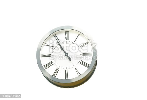 istock circle clock on white background 1136202445