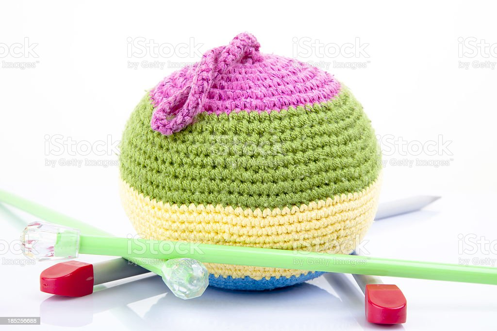 circle coloured woolen ball stock photo