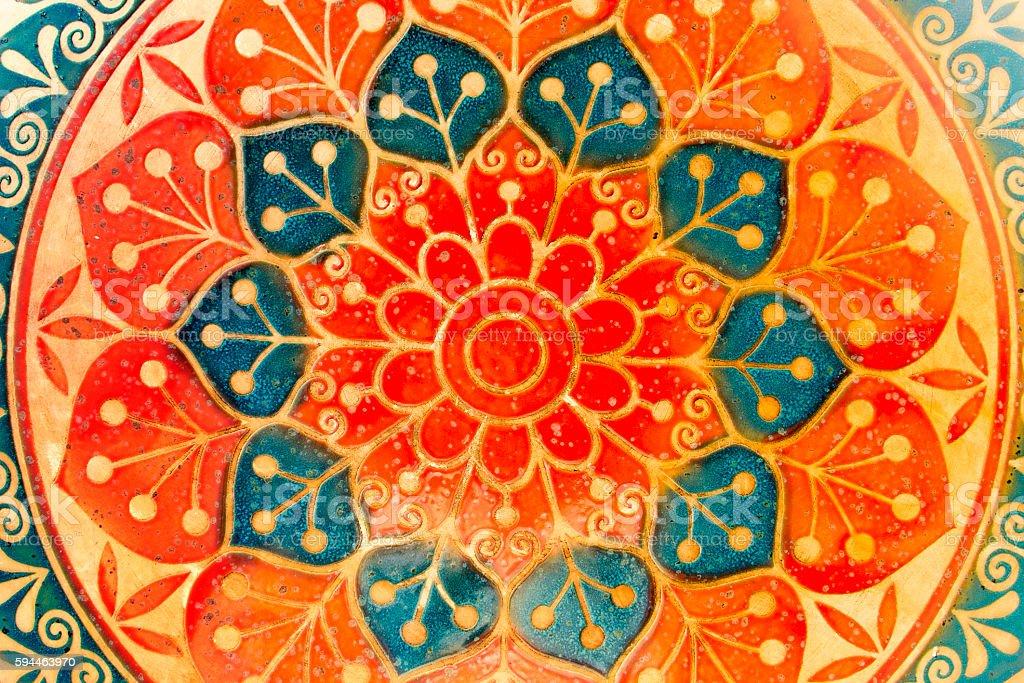 circle decorative spiritual indian symbol of lotus flower stock photo