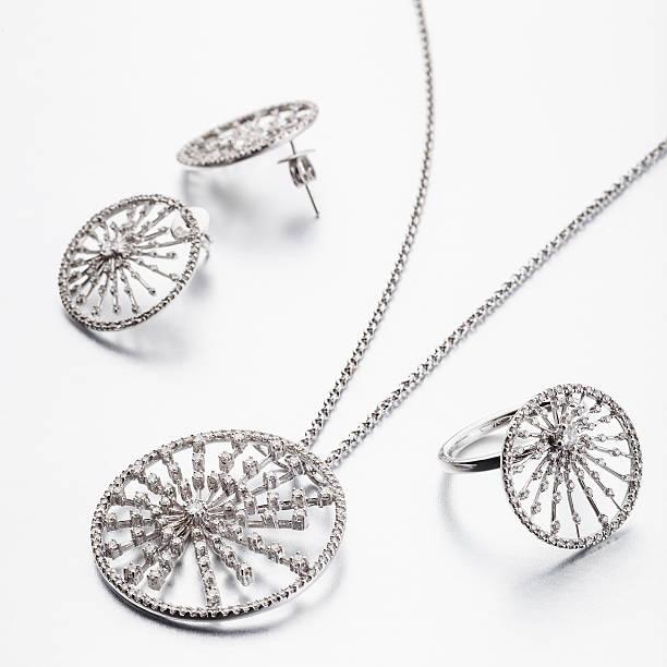 Circle design jewellery set on white background