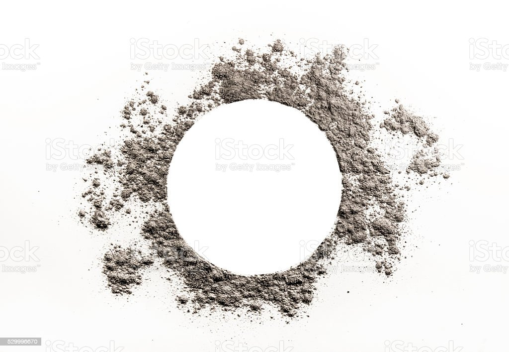 Circle drawing in grey dust, ash cloud stock photo