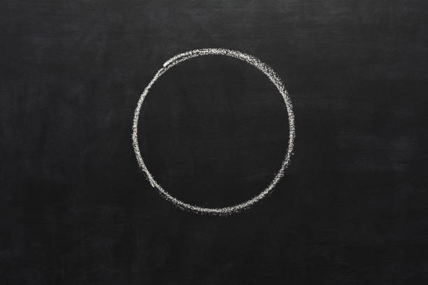 Circle drawn with chalk on blackboard White chalk hand drawing circle on blackboard. Geometrical shape on black educational background with copy space chalk drawing stock pictures, royalty-free photos & images