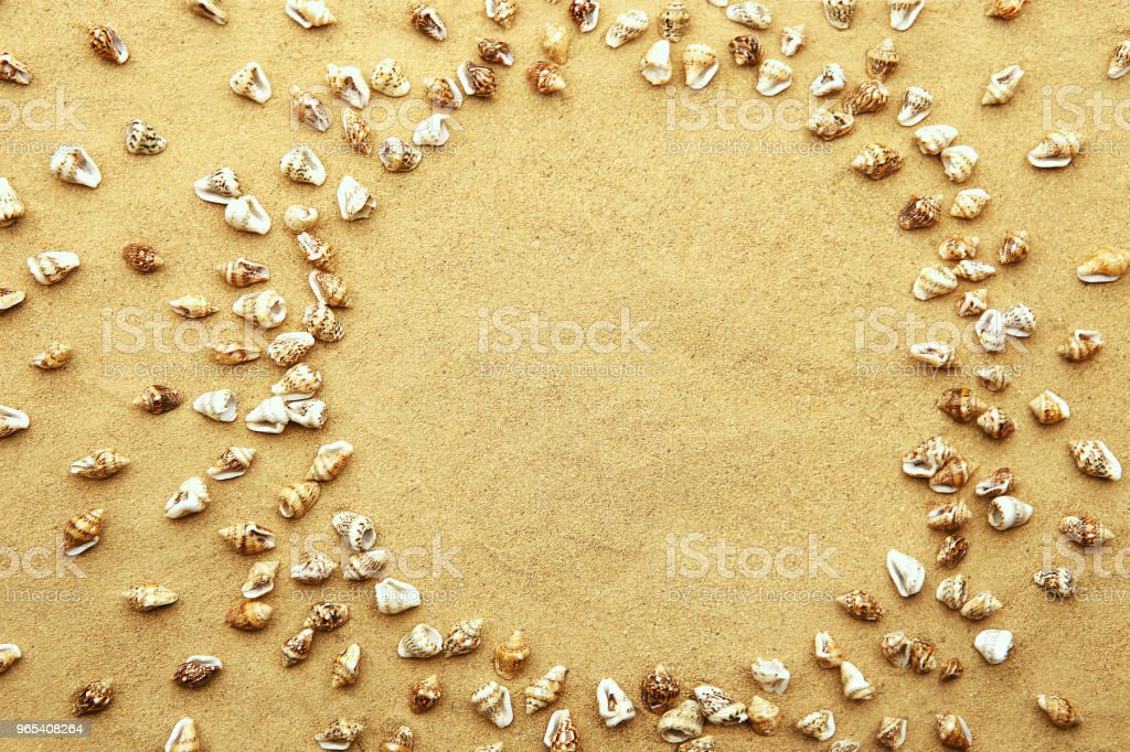 원형 프레임 해변 모래 배경에 작은 바다 포탄의 만든. - 로열티 프리 공예 스톡 사진