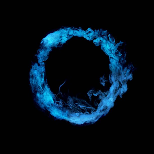 circle from blue colorful smoke circle from blue colorful smoke isolated on black background evaporation stock pictures, royalty-free photos & images