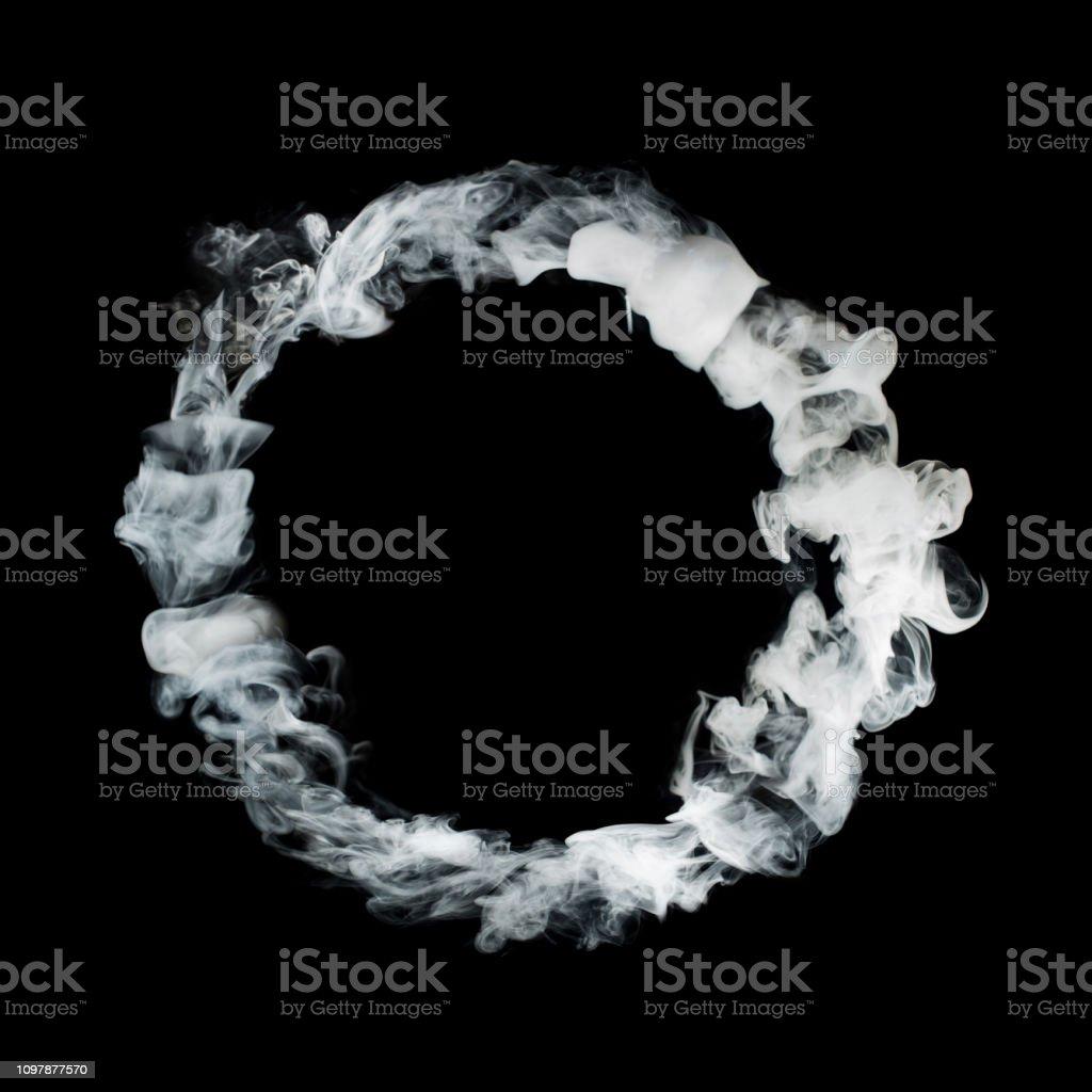 circle from white smoke isolated on black background