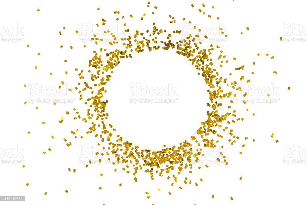 Circle gold glitter splash isolated on white background object decoration party merry christmas happy new year backdrop design stock photo