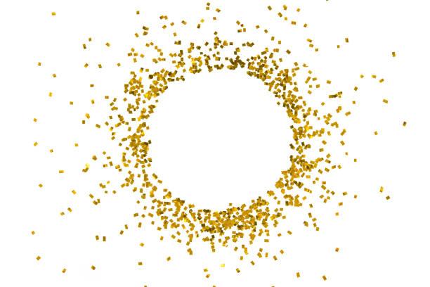 kreis gold glitzer splash isoliert auf weißem hintergrund dekoration partei frohe weihnachten guten rutsch hintergrund objektdesign - goldpailletten stock-fotos und bilder