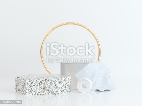 circle gold white scene geometric shape 3d rendering marble gold clear