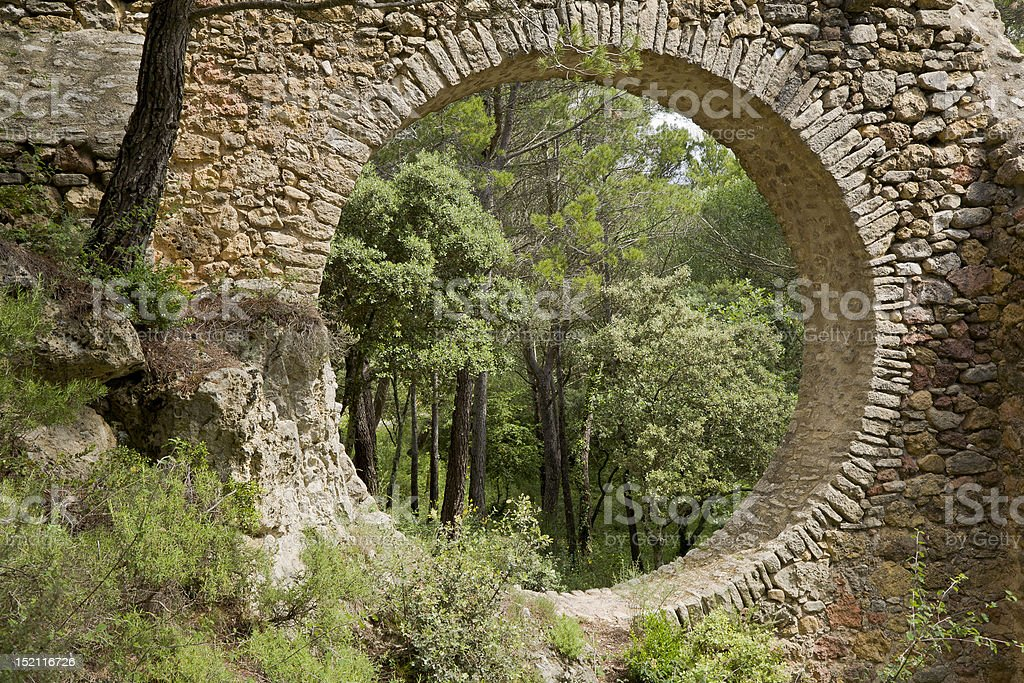Circle in a Stone Wall stock photo