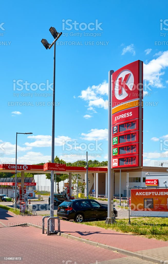 Circle K Express gas station in the city of Szczecin on a sunny day. Szczecin, Poland - June 14, 2020: Circle K Express gas station in the city of Szczecin on a sunny day. Advertisement Stock Photo