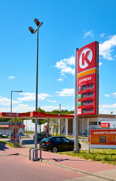 Circle K Express gas station in the city of Szczecin on a sunny day. Szczecin, Poland - June 14, 2020: Circle K Express gas station in the city of Szczecin on a sunny day. k logo stock pictures, royalty-free photos & images