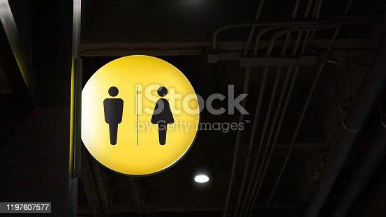 1140718043 istock photo Circle lightbox restroom signage hang on wall 1197607577