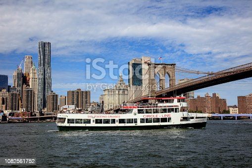 Circle Line Sightseeing Cruises is a harbor cruise company in Manhattan. The boat is just under the Brooklyn Bridge on east river in New York City.
