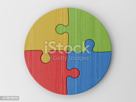 472678222 istock photo Circle made of four puzzle pieces of different colors 472678220