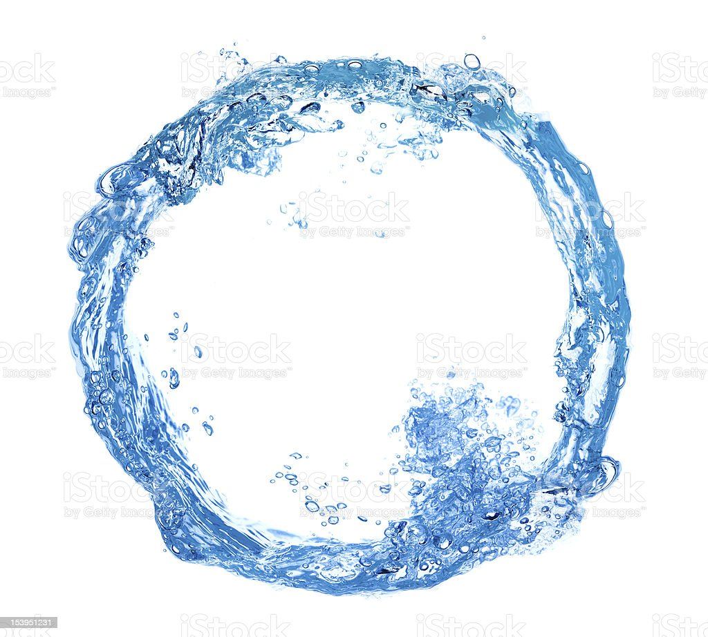 circle made of water splashes stock photo