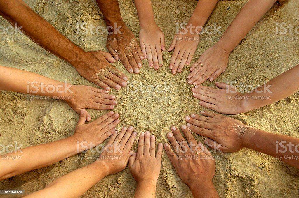 Circle Mandala of 12 Diverse Hands stock photo