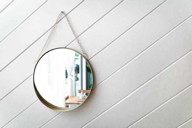 circle mirror on a white background stock photo