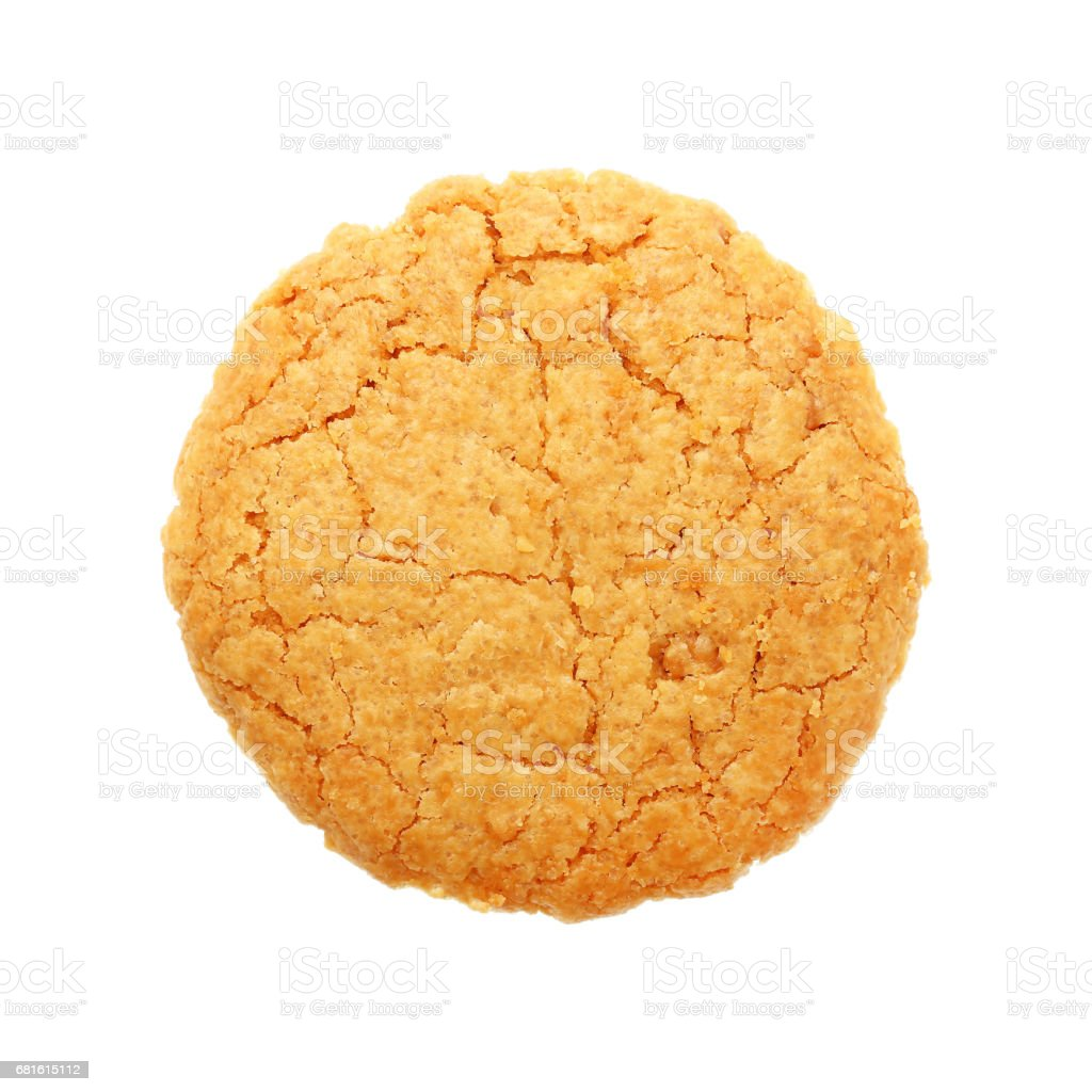 circle oatmeal cookie isolated on white stock photo