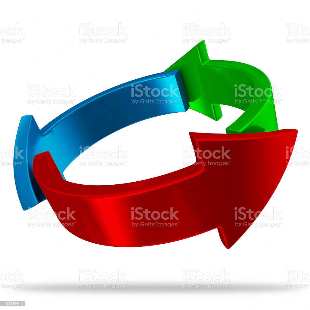 RGB circle of arrows stock photo