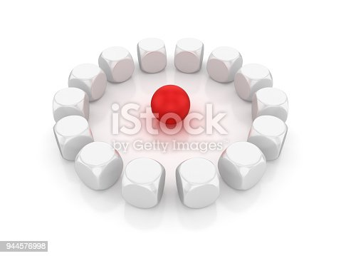 istock Circle of Blocks with Red Sphere in the Middle - 3D Rendering 944576998