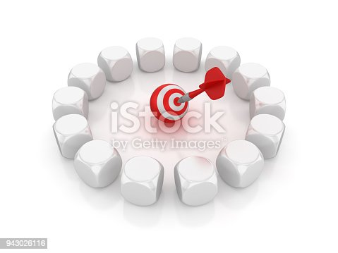istock Circle of Blocks with Target and Dart - 3D Rendering 943026116