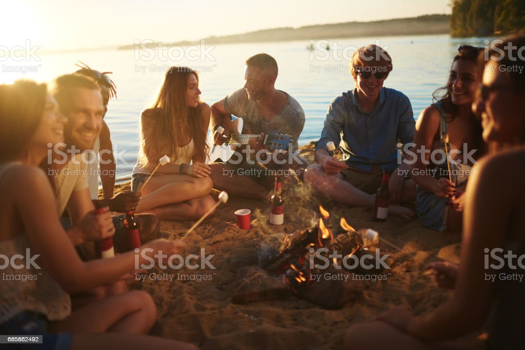 Circle of campers stock photo
