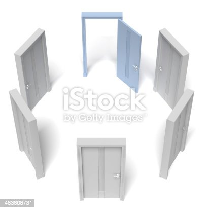 513735180istockphoto circle of closed doors and one opened 463608731