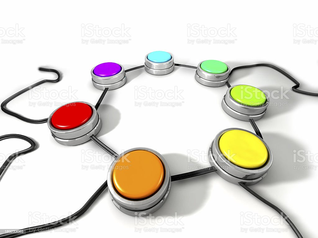 Circle of Colored Buttons stock photo