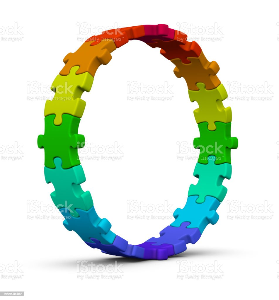 Circle of colorful jigsaw puzzles. stock photo