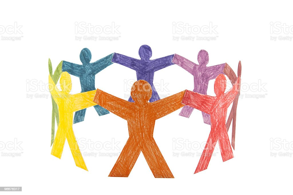 Circle of colourful people with clipping path royalty-free stock photo