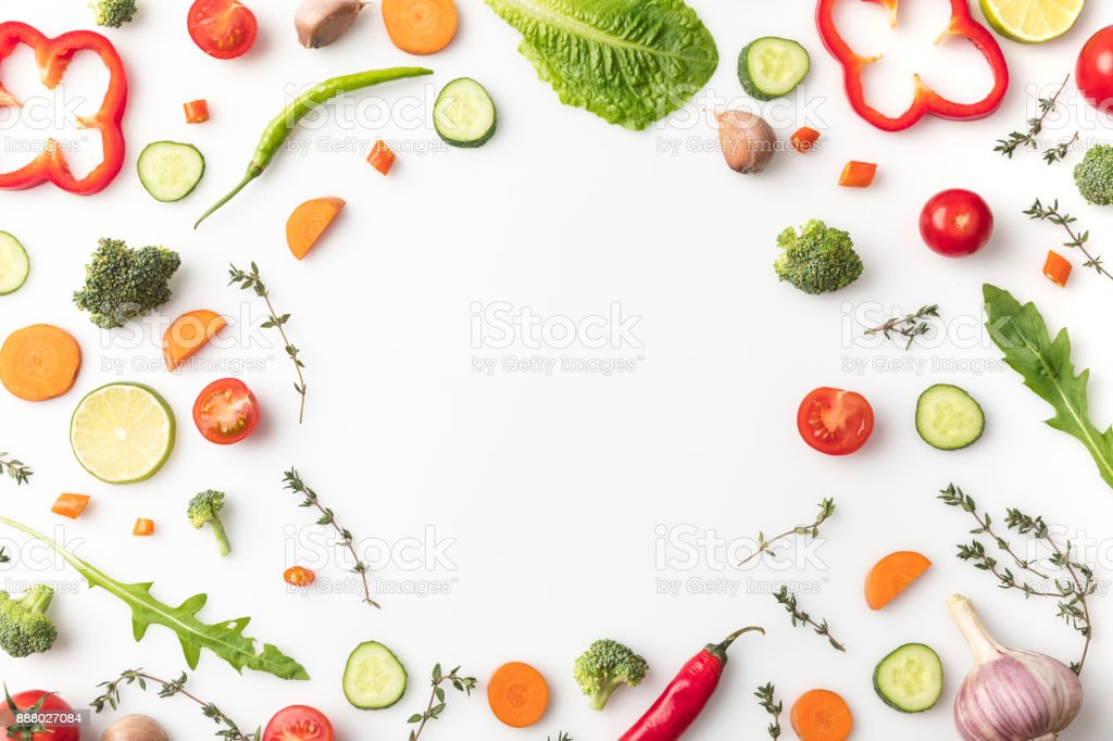circle of cut vegetables stock photo