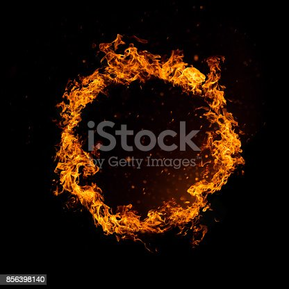 istock Circle of fire isolated on black 856398140