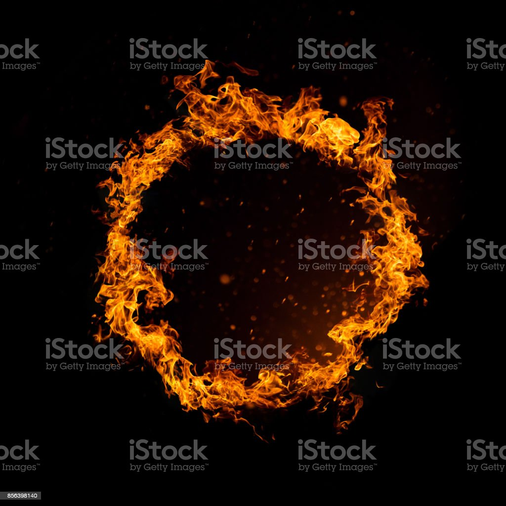 Circle of fire isolated on black stock photo