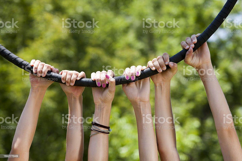 Circle of friends just hangin' around hands only royalty-free stock photo