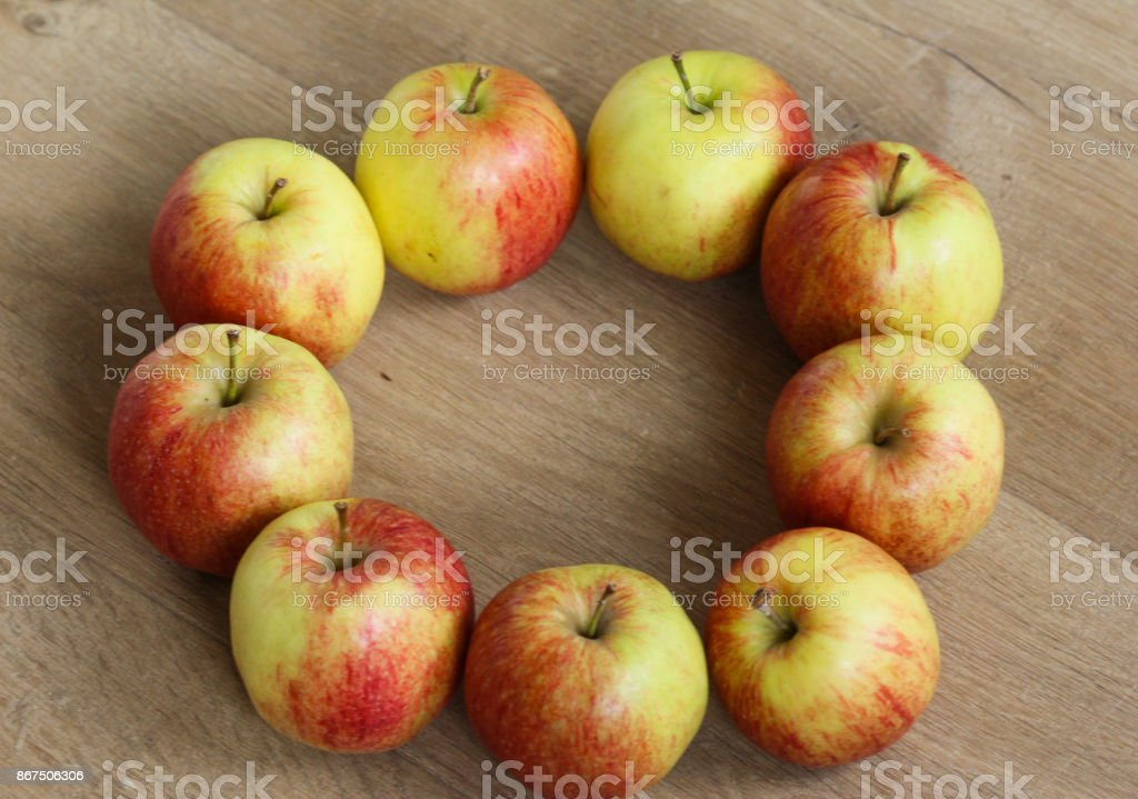 Circle of jonagold apples stock photo