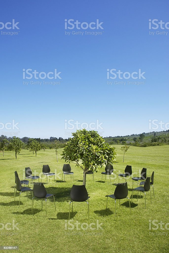 Circle of office chairs around tree in field royalty-free stock photo