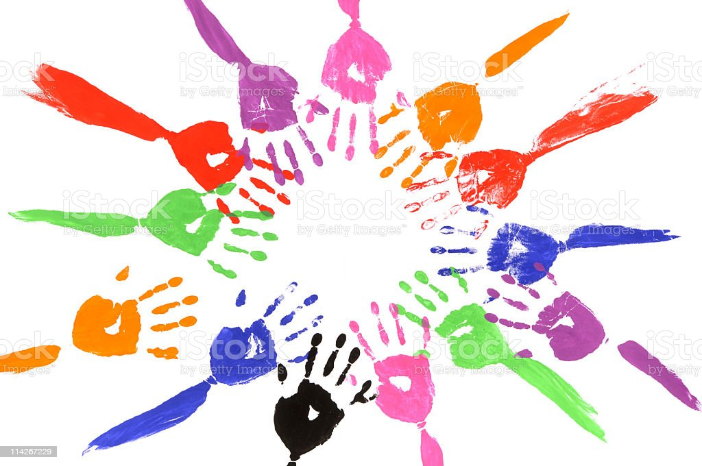 Circle of painted arms royalty-free stock photo