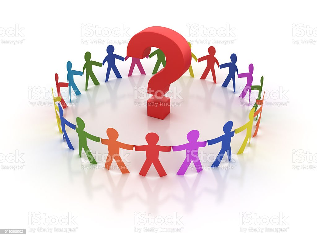 Circle of People with Question Mark stock photo