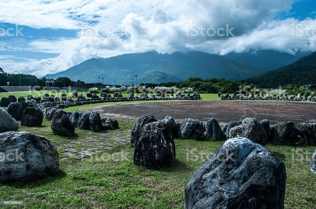 Circle of stones in Hualien stock photo